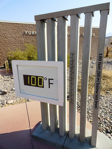 100° Fahrenheit, Furnace Creek Visitor Center, Death Valley National Park, California