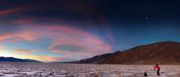 Badwater Salt Flats, lowest point in North America, Death Valley National Park, California