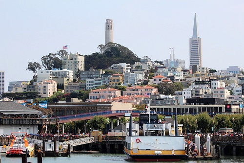 Coit Tower from Fisherman's Wharf, San Francisco, California