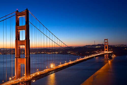 Golden Gate Bridge at Night from the North Side of San Francisco Bay, California