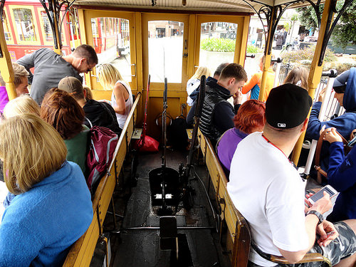 Inside a Cable Car, Fisherman's Wharf, San Francisco, California