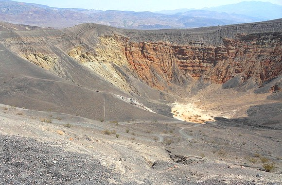 Looking into the crater, Ubehebe Crater, Death Valley National Park, California