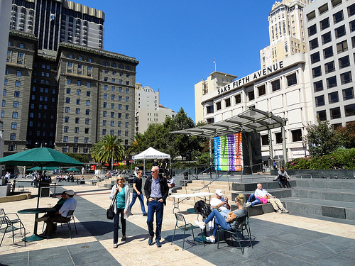 Relaxing in Union Square San Francisco, California