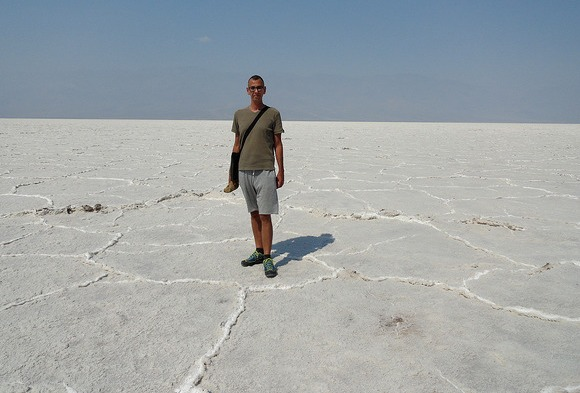 The Author of the blog in Badwater Basin, Death Valley National Park, California