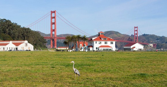View of Golden Gate Bridge from Crissy Field, San Francisco, California