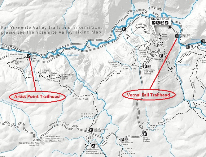 Yosemite National Park Artist Point and Vernal Fall Trailheads Map