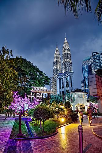 A Great View of Petronas Towers at Night in Kuala Lumpur, Malaysia