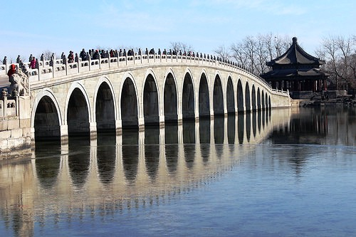 View of Bridge at Summer Palace, near Beijing, China