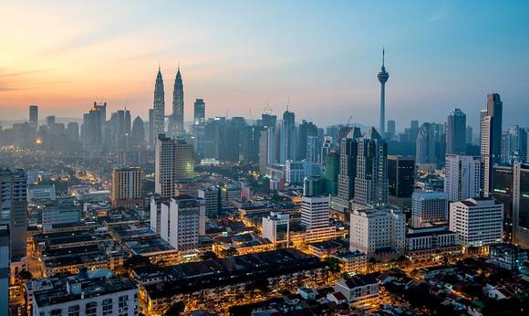 View of Petronas Towers and KL Menara Tower at Down, Kuala Lumpur, Malaysia