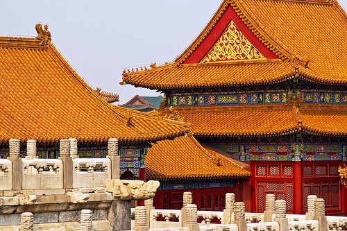 Roof inside Forbidden City complex, Beijing, China