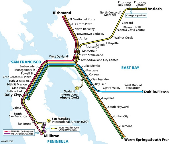 San Francisco BART Transportation Map