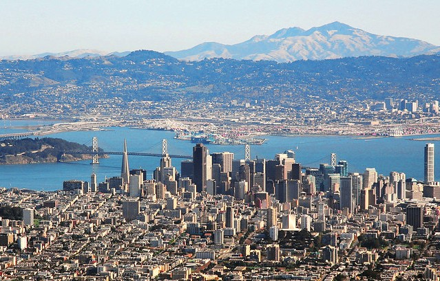San Francisco, the Bay Bridge, Yerba Buena Island with Oakland and Berkeley, California