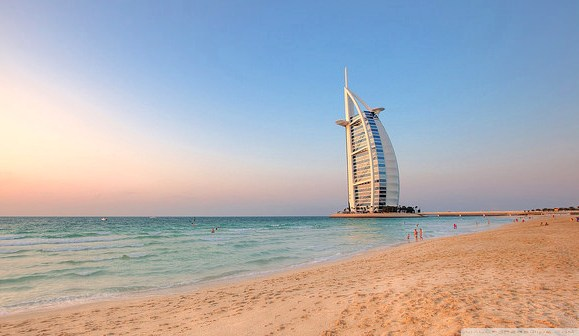Burj Al Arab from Madinat Jumeirah Beach in Dubai, UAE