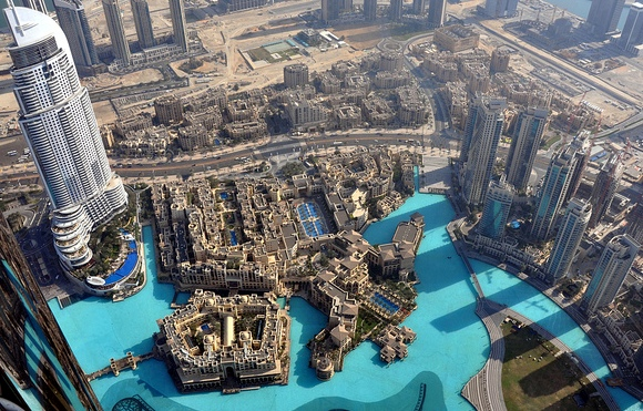 Great View of Downtown Dubai and Khalifa Lake from Burj Khalifa in Dubai, UAE