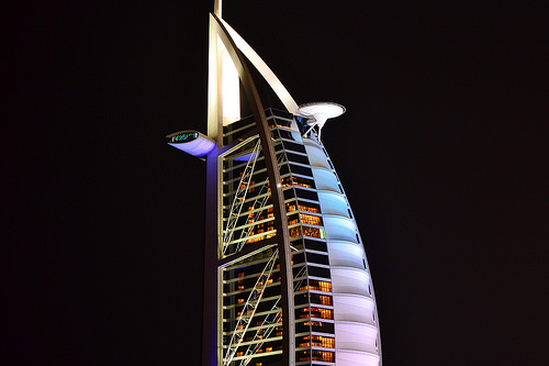 Iconic Burj Al Arab at Night in Dubai, UAE