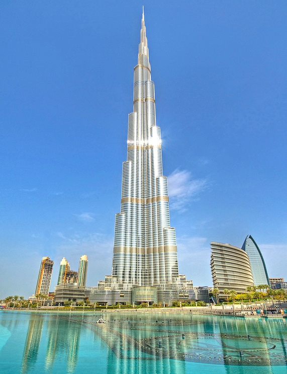 Impressive Burj Khalifa and Khalifa Lake, Dubai, United Arab Emirates