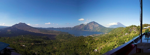 Lake and Mount Batur Panorama from Lakeview Restaurant near Kintamani, Bali, Indonesia