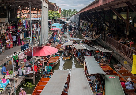 Main Canal at Damnoen Saduak Floating Market, South-west of Bangkok, Thailand