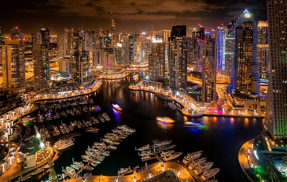 Night View of Dubai Marina in Dubai, UAE