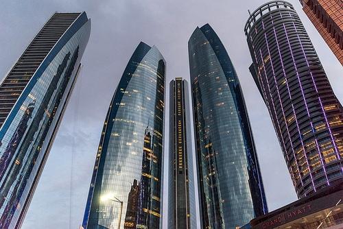 Impressive Etihad Towers in Abu Dhabi, United Arab Emirates