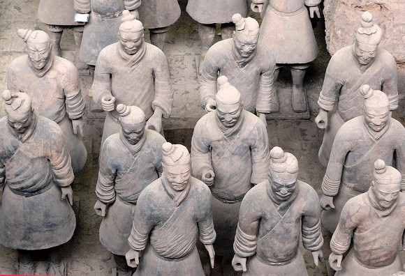 Details of Terracotta Warriors, Terracotta Army Museum, Xian, China