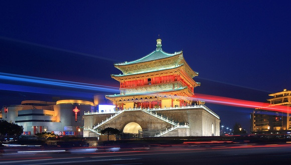 Great View of Bell Tower at Night, Xian, China