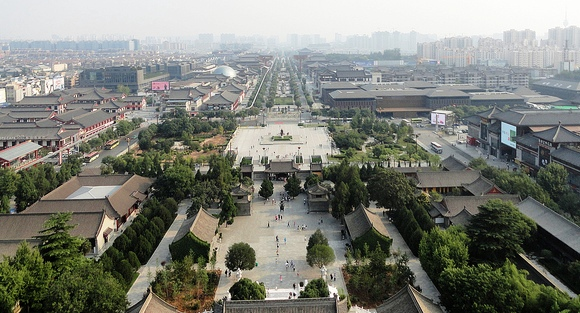 Looking South from Giant Wild Goose Pagoda, Westin Xi'an Hotel in on the Right, Xian, China