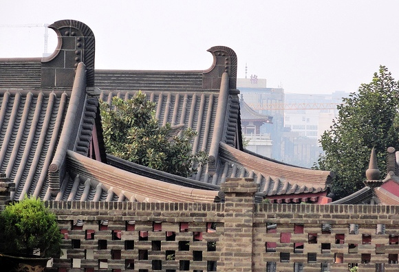 Roofs from Giant Wild Goose Pagoda, Xian, China