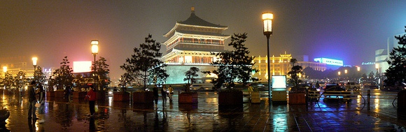 Xi'an Bell Tower (Zhong Lou) at Night after Heavy Rain
