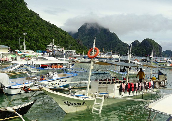 Boat ready for Island Hopping, Main Beach, El Nido, Palawan, Philippines