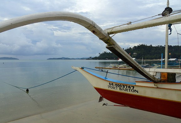 Boat on the Main Beach, Port Barton, Palawan, Philippines