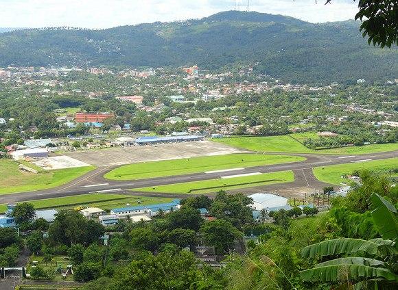 Legazpi Airport and Legazpi City from Lignon Hill, Albay, Philippines