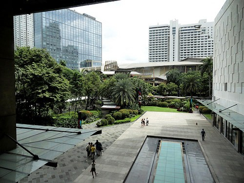 Makati CBD and Greenbelt Park from Greenbelt Mall, Manila, Philippines