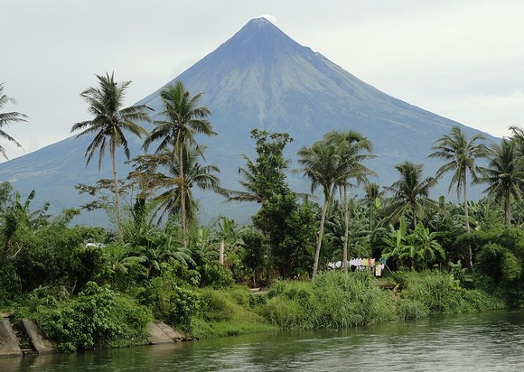 Mayon Volcano from Tabaco, Road between Legazpi City and Sabang Port, Luzon, Philippines