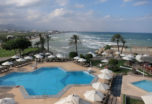 Qurum Beach from Crowne Plaza Hotel, Muscat, Oman