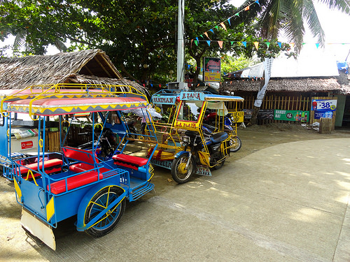 Tricycles, Paniman  Beach, Caramoan Peninsula, Camarines Sur, Philippines