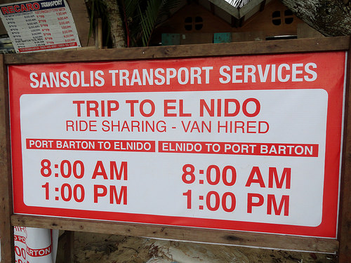 Van Services Between Port Barton and El Nido, Palawan, Philippines