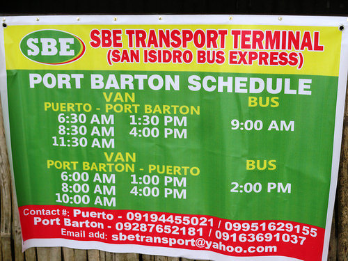 Van and Bus Services Between Puerto Princesa and Port Barton, Palawan, Philippines
