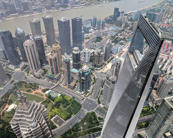 View down from Shanghai Tower with Jin Mao Tower and SWFC, Pudong, Shanghai