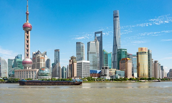 View of Pudong Skyline with Shanghai Tower on the Right Side