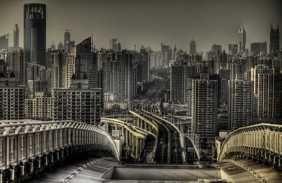 View Towards Puxi from the Lupu Bridge, Shanghai