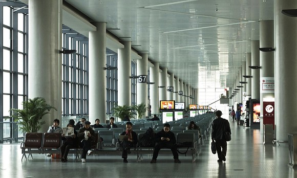 Waiting for flights at Hongqiao Airport, Shanghai