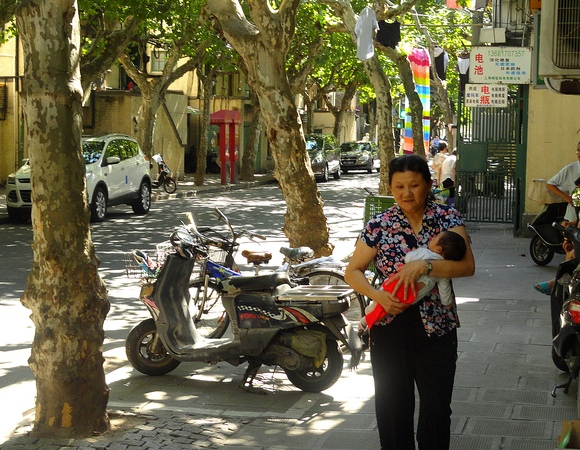 Walking in Yanqing Road, French Concession, Shanghai