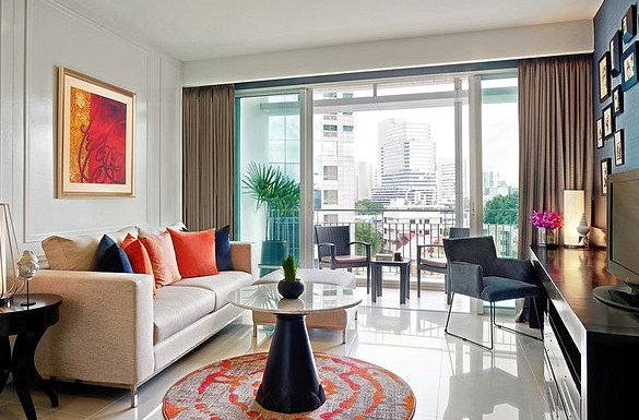 Living Room, One Bedroom Deluxe Suite, Dusit Suites Hotel Ratchadamri Bangkok, Lumphini, Bangkok