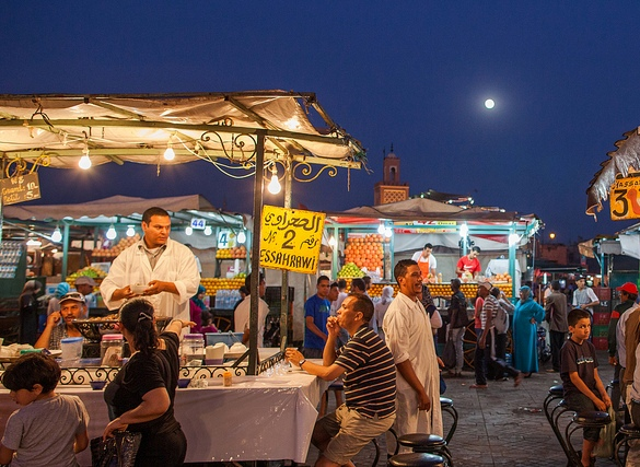 Dinner at Jemaa El Fna at Night, Marrakech, Morocco