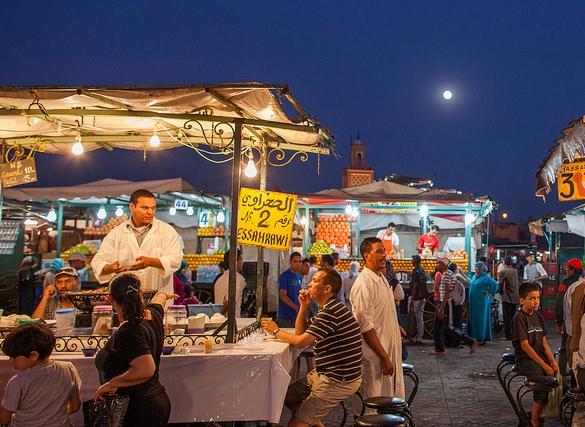 Dinner at Jemaa El Fna at Night, Marrakech, Morocco