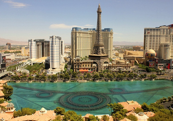 Bellagio Fountain and Paris, Las Vegas, Nevada, USA