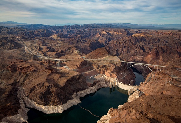 Flying over Hoover Dam and Lake Mead, border of Nevada and Arizona, United States of America