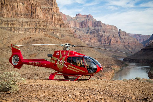 Helicopter at the Bottom of the Canyon, Grand Canyon West, Hualapai Indian Reservation, Arizona, United States of America