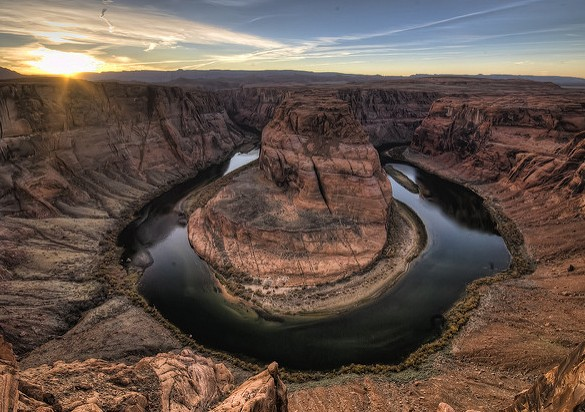 Horseshoe Bend at Sunset, Arizona, United States of America